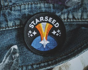 "Starseed Patch - New Age Esoteric Fashion - 2"" Iron On Embroidered Patch - Cosmic Soul Family Badge - Crystal, Indigo, Rainbow Children"