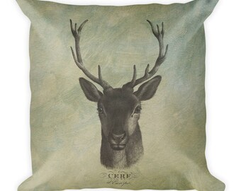 French Deer Forest Woodland Theme Antique Style Square Pillow 18x18in