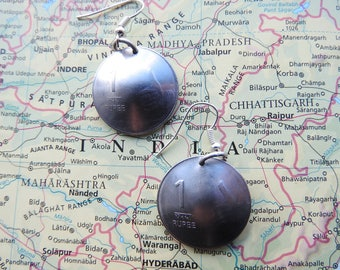 India coin earrings - 2 different designs - made of original coins from India - wanderlust - globetrotter
