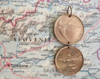 Slovenia coin necklace - 2 different designs - made of original coins from Slovenia - travel - wanderlust - explore