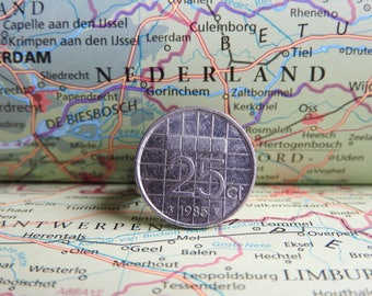 Dutch quarter coin ring in your birth year 1982 - 1983 - 1984 - 1985 - 1986 - 1987 - 1988 - 1989 - 1990 nickel free