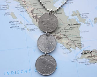 India coin necklace/keychain - 4 different designs - made of original coins - birds - lions - travel - wanderlust - explore
