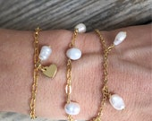 minimal bonk ibiza pearl bracelet with 22k gold plated chain