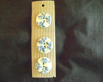 South African Hand-Painted Ceramic and Clay Buttons - Blue Flowers