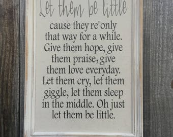 Let them be little,Framed Canvas print,baby shower gift,gallery wall art,childrens sign,nursery room sign,childrens framed quote,baby gift