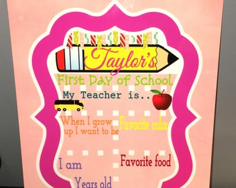 Dry Erase Board 1st day School sign for teacher & student (3 styles to choose from girl, boy, or teacher)