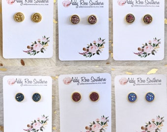 8mm druzy in gold, druzy studs, druzy earrings
