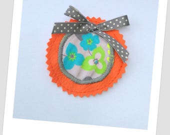 Faux leather and fabric flower brooch