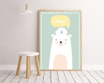 Nursery Wall Art Print, Kids Art Print,Instant download,Digital Animal Nursery Print, Modern Nursery Decor,Printable, Bear poster, Kids room