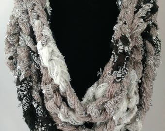 Black, White and Gray Infinity Scarf • Chain Style Scarf • Sparkly Infinity Scarf • Handmade Scarf • Gifts for Women • Gifts for Her