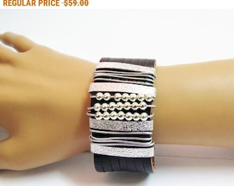 Leather Cuff Bracelet, Brown And Silver Bracelet, Cuff Bracelet, Wrap Wire Bracelet, Wrapped Bracelet, Brown Leather Cuff, Cuff Bracelet,