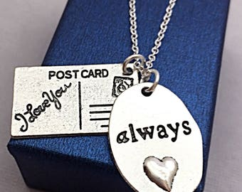 Always Jewelry Gift Necklace, Long Distance,I love you charm necklace, postcard charm, distance jewelry,I love you jewelry, distance gifts