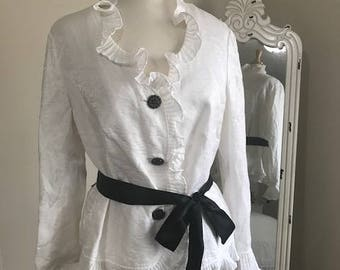 White Dressy Blouse With Ruffles Art Decor stoned Buttons and a Black Ribbon Size XL