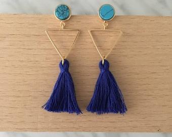 Tassel earrings, royal blue tassel earrings, turquoise earrings, tassel jewelry, turquoise jewelry, summer jewelry, blue and turquoise