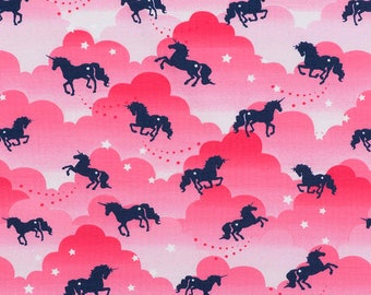Unicorn in the clouds jersey fabric