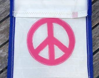 Accessories Pouch - made from recycled sails - Pink Peace Sign
