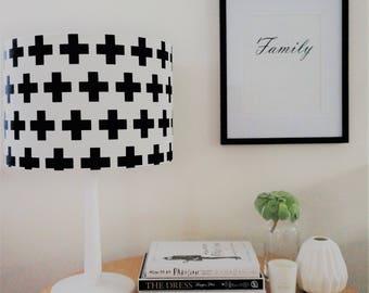 Lamp Shade, Crosses, White, Black,Home Decor, White & Black, Modern Lamp Shade, Crosses, Lighting, Shade