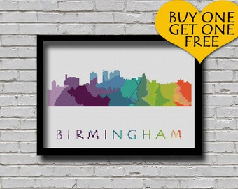 Cross Stitch Pattern Birmingham Mobile Alabama Silhouette Watercolor Effect Decor Embroidery Modern Ornament Usa City Skyline Xstitch