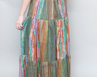 Vintage 1970's Sheer Tiered Mixed Print Festival Maxi Skirt