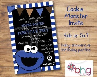 Cookie Monster Baby Shower Invite   Cookie Monster   Baby Boy Invite  Blue,  White
