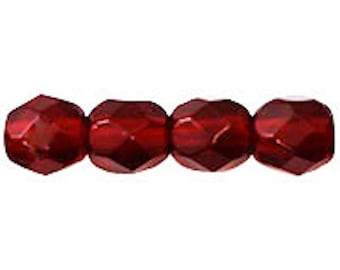 Czech Glass Beads - Round Faceted Beads - Fire Polished Beads - Ruby Beads - 4mm - 50 Beads