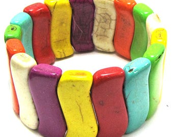 "12x31mm multicolor turquoise stretch bracelet 8"" 31333"
