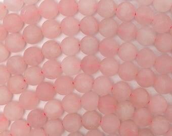 "8mm matte rose quartz round beads 15"" strand 38671"