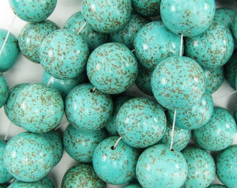 20mm blue turquoise round gemstone beads 10pcs 17952