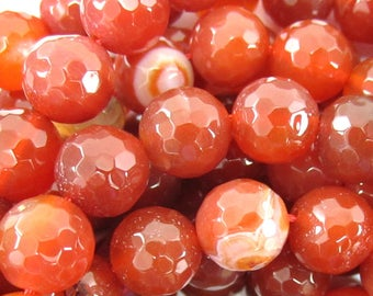 """10mm faceted natural carnelian round beads 15"""" strand 35293"""