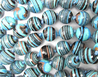 """10mm faceted blue rainbow calsilica round beads 7"""" strand 35033"""