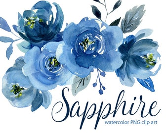 Watercolor flower clipart: indigo blue roses flowers, Aquarelle Digital Clip Art, navy sapphire watercolour boho floral peony png clipart