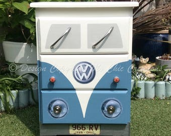 Airforce Blue Retro VW CamperVan Style Chest of Drawers Bedside Table Volkswagen