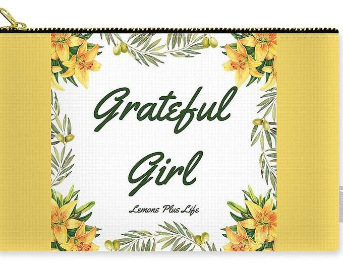 Carry-all Pouch Grateful Girl Yellow Floral