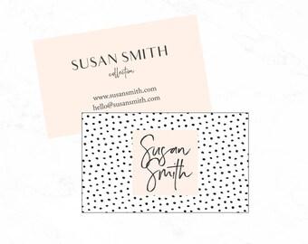 Polka dot business card design, Instant download business card, diy business card, polka dot business card template