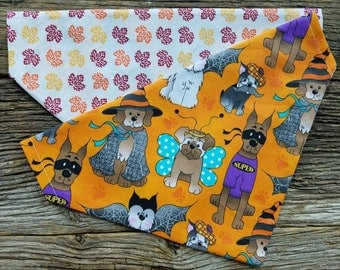 Halloween Dog bandana fall leaves and dogs dressed up slide over the collar