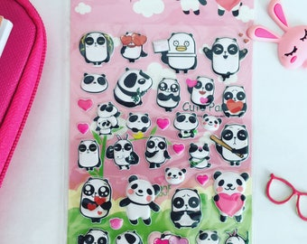 Panda stickers sheet panda puffy stickers