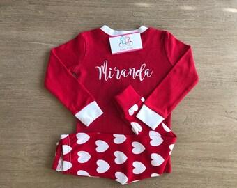 Valentine's day Pajamas / Heart PJs for Girls / CHD Pajamas