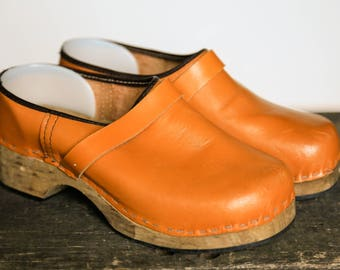 Vintage Leather Clogs | Handmade Wood Leather Clogs | Leather Clog Shoes | Boho Clogs | Burning Man Clogs | Hippie Clogs | Swedish  Clogs