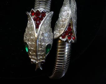 Rare Vintage CROWN TRIFARI Silver-tone & Rhinestone Cuff/Arm Band Snake Bracelet