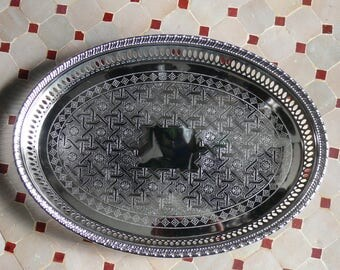 Oriental Platter Silver Plated-oval Morocco Marrakech 1001 Night