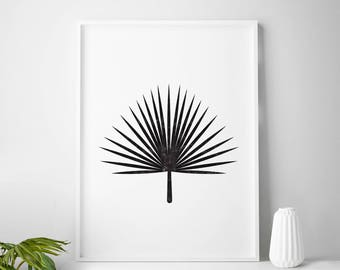 Black and white tropical print, tropical art, tropical decor, tropical wall art, palm leaf, palm tree print, palm print, summer prints