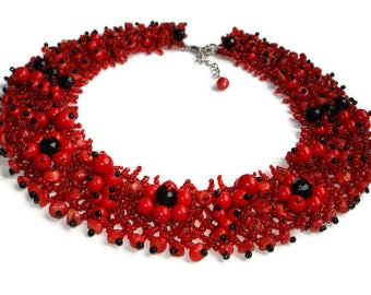 Statement necklace Red necklace Unique necklace Wedding necklace beaded necklace for Womens necklace Handmade necklace for mother necklace