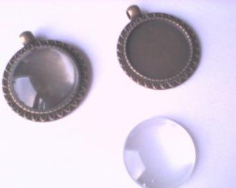 Kit 2 pendants 2 supports 25 = glass, antique bronze color zinc alloy cabochon
