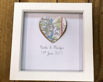 Custom made map heart framed picture- wedding gift- anniversary