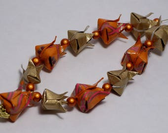 Tulips in orange and gold Origami necklace