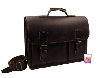Briefcase-Notebook bag Achilles leather in brown in vintage look-handmade in Germany