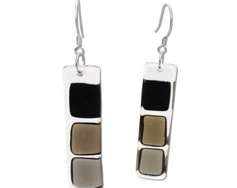 Fused Glass Squares Earrings in Black, White or Brown. Mod, Colorful, Fun Earrings, Geometric, long earrings. Fall Earrings