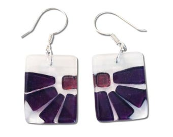 Fused Glass Flower Square Earrings. Fun, Unique and Cute earrings, Beautiful Purple or Pink Colorful Earrings
