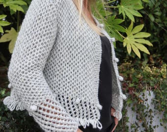 Jacket - Wool vest - Long jacket - Hand knitted in Alpaca & silk - 18 colors