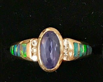14k Kabana Opal, Tanzanite and Diamond Ring